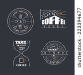 coffee quotes lettering badge... | Shutterstock .eps vector #223394677