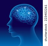 human head with the brain... | Shutterstock .eps vector #223402261