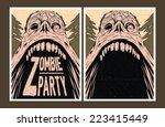 halloween poster. zombie party... | Shutterstock .eps vector #223415449