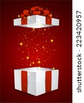 opened 3d realistic gift box... | Shutterstock .eps vector #223420957