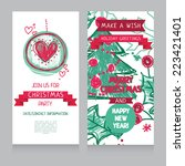 template for hand drawn xmas... | Shutterstock .eps vector #223421401