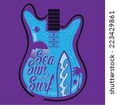 surf guitar music  t shirt... | Shutterstock .eps vector #223429861