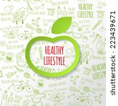 healthy lifestyle concept with... | Shutterstock .eps vector #223439671