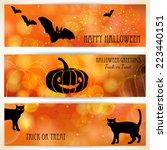 halloween banners with black... | Shutterstock .eps vector #223440151