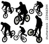 bicycle collage. boy on bmx... | Shutterstock . vector #223466344