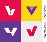 Vector Illustration Letter V Set