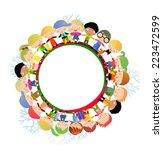 group of children around | Shutterstock .eps vector #223472599