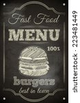 burger menu poster on... | Shutterstock . vector #223481449