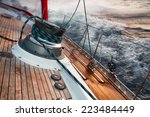 sail boat under the storm ... | Shutterstock . vector #223484449