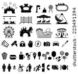 amusement park icons. icons set ... | Shutterstock .eps vector #223491394