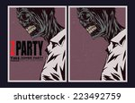 halloween poster. zombie party... | Shutterstock .eps vector #223492759