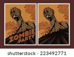 halloween poster. zombie party... | Shutterstock .eps vector #223492771