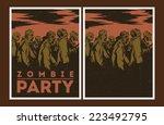 halloween poster. zombie party... | Shutterstock .eps vector #223492795