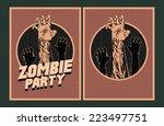 halloween poster. zombie party... | Shutterstock .eps vector #223497751