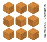 cartoon isometric wood game...