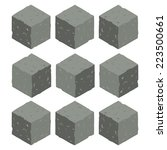 cartoon isometric rock stone...