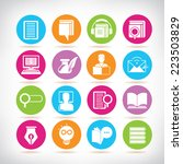 library icons  online education ... | Shutterstock .eps vector #223503829