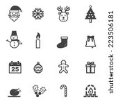 christmas icons  mono vector... | Shutterstock .eps vector #223506181