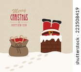 santa stuck in chimney gift bag ... | Shutterstock .eps vector #223508419
