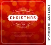 christmas retro typography and... | Shutterstock .eps vector #223513015