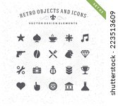 retro objects and icons vector... | Shutterstock .eps vector #223513609