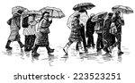 people in the rain | Shutterstock . vector #223523251