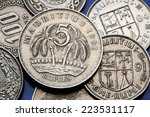coins of mauritius. two palm...   Shutterstock . vector #223531117