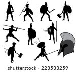 Set Of Ancient Greek Warriors...