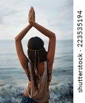 beautiful girl hippie standing... | Shutterstock . vector #223535194