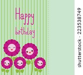 cute greeting card with cartoon ... | Shutterstock .eps vector #223538749