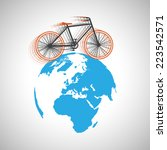 bicycle around the globe  vector | Shutterstock .eps vector #223542571