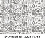 seamless doodle medical pattern | Shutterstock .eps vector #223544755