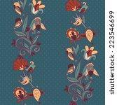 flowers and birds seamless...   Shutterstock .eps vector #223546699