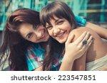 beautiful hipster young women... | Shutterstock . vector #223547851