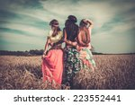 multi ethnic hippie girls  in a ... | Shutterstock . vector #223552441