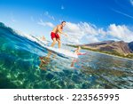 father and son surfing together ... | Shutterstock . vector #223565995