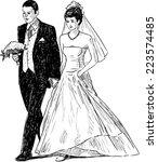 bride and groom | Shutterstock .eps vector #223574485