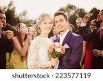 young newlyweds enjoying... | Shutterstock . vector #223577119