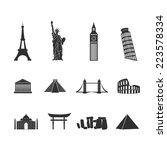 World Landmarks Abstract Black...