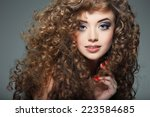 young beautiful woman with long ... | Shutterstock . vector #223584685