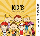 kids design over yellow... | Shutterstock .eps vector #223586857