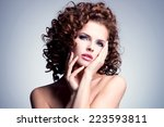 beautiful young woman with... | Shutterstock . vector #223593811