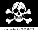 black vector pirate flag with... | Shutterstock .eps vector #223598074