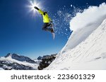 free rider with snowboard... | Shutterstock . vector #223601329