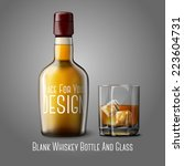 blank realistic whiskey bottle... | Shutterstock .eps vector #223604731