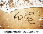 Love Message Written In Sand