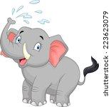 cartoon elephant spraying water | Shutterstock .eps vector #223623079