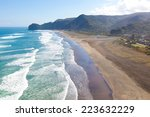 aerial view at piha beach from...