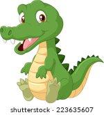 cute cartoon crocodile   Shutterstock .eps vector #223635607