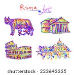 set famous place of rome italy  ... | Shutterstock .eps vector #223643335